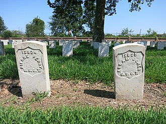 9th Louisiana Regiment Infantry (African Descent) - Two graves of US Colored Troops (USCT) at Chalmette National Cemetery in New Orleans, La.