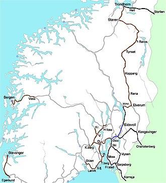 History of rail transport in Norway - Public railways in Norway in 1883.