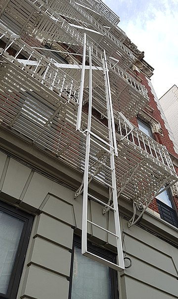 Lower part of a fire escape in New York. NY Fire escape 1.jpg