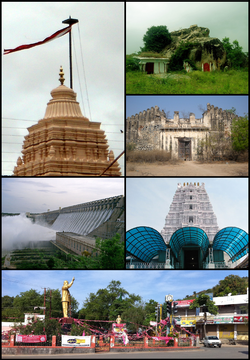 Nalgonda District Montage. Clockwise from Top Left: Kolanpak Jain Temple Gopuram, Ancient Temples at Arrur Village, Rajapet Fort, Yadagirigutta temple Gopuram, Clock Tower center in Nalgonda Town, Nagarjunasagar Dam