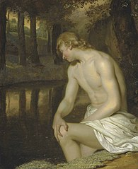 Narcissus gazing at his own reflection