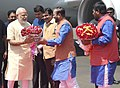 Narendra Modi being welcomed by the Governor of Maharashtra, Shri C. Vidyasagar Rao, the Union Minister for Road Transport & Highways and Shipping, Shri Nitin Gadkari, the Union Minister for Human Resource Development.jpg