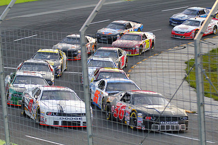 NASCAR Pinty's Series cars at Autodrome Chaudiere in 2015 Nascar Canadian Tire Series Chaudiere.jpg