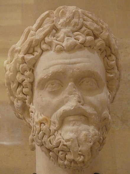 Marble bust of Septimius Severus from Tyre, National Museum of Beirut NationalMuseumOfBeirut SeptimiusSverus-marble-Tyre RomanDeckert06102019.jpg