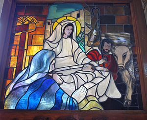 Stained glass window depicting the birth of Je...