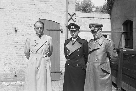 Members of the Flensburg Government after their arrest - Albert Speer (left), Donitz (center) and Alfred Jodl (right) Nazi Personalities BU6713.jpg