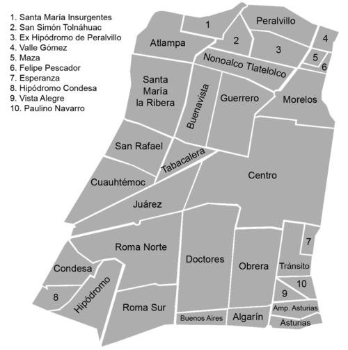 List Of Neighborhoods In Mexico City Wikipedia