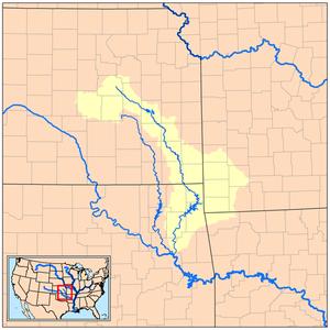 Neosho River - Image: Neoshorivermap