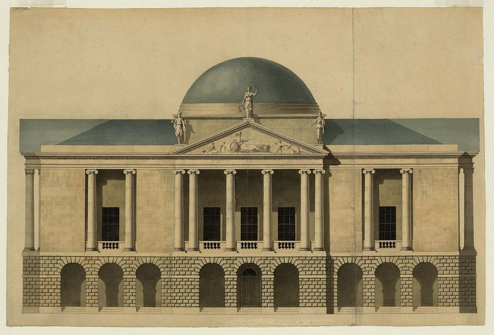 New County Hall, Stafford, England. Proposed façade. Elevation LCCN2007681979
