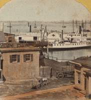 A stereoscopic image of ferries at Hoboken, 1865