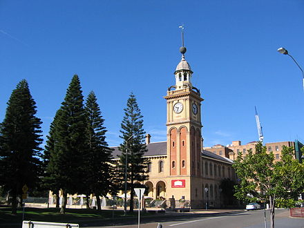 Newcastle's Customs House was erected in response to the economic and trade boom of the 19th century Newcastle clock tower 2.jpg