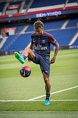 Neymar Performing Keepie Uppie During His Paris Saint Germain Unveiling