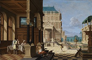 Nicolaes de Giselaer - Palace Courtyard with Loggia and Figures by Nicolaes de Giselaer