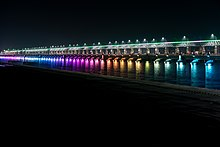 Night view of Prakasam Barrage