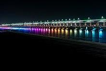 Night view of Prakasam Barrage