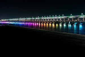 Vijayawada - Night view of Prakasam Barrage