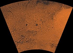 Noachis quadrangle - Image of the Noachis Quadrangle (MC-27). The northeast includes the western half of Hellas basin. The southeastern region contains Peneus Patera and part of the Amphitrites volcano.