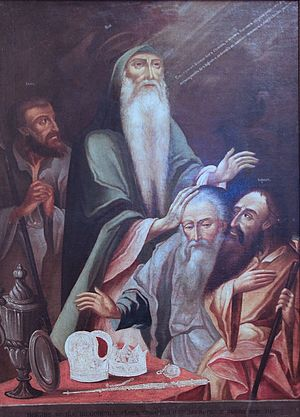 Generations of Noah - Noah dividing the world between his sons. Anonymous painter; Russia, 18th century