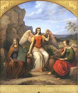 "Verðandi - ""Nornir"" (ca. 1884) by J. L. Lund, depicting Verðandi with wings."