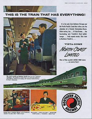 North Coast Hiawatha - A 1956 advertisement in the Saturday Evening Post touted the North Coast Limiteds amenities.