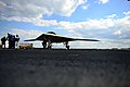 Northrop Grumman employees conduct tests on an X-47B unmanned combat air system on the flight deck of the aircraft carrier USS George H.W. Bush (CVN 77) in the Atlantic Ocean May 13, 2013 130513-N-TB177-195.jpg