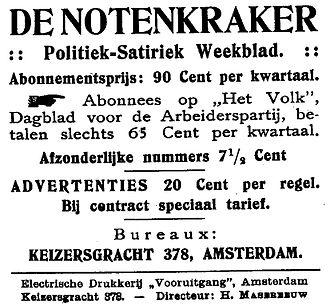 De Notenkraker - Advertisement for De Notenkraker