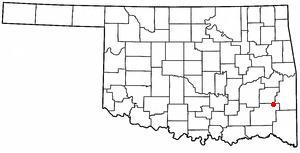 Albion, Oklahoma - Image: OK Map doton Albion