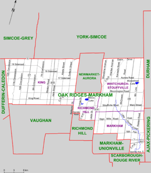 Oak Ridges—Markham (provincial electoral district) - Map of Oak Ridges-Markham