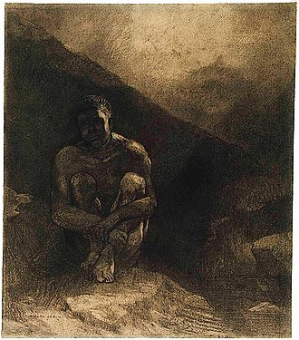 Primitive culture - Primitive Man (Seated in Shadow). Odilon Redon, 1872. The Art Institute of Chicago.