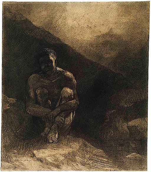 Odilon Redon - Primitive Man (Seated in Shadow)
