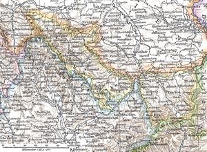 Austrian Silesia - Austrian Silesia (outlined in yellow), Richard Andree, 1880