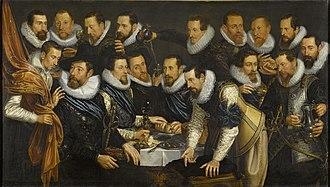 Geurt van Beuningen - Painting by Jan Tengnagel (1613) of a rot (section) of 17 members of the Handboogdoelen civic guard under the command of Geurt van Beuningen, who is shown second from left on the bottom row.