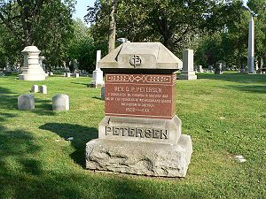 Ole Peter Petersen -  Rev. O. P. Petersen grave site at Forest Home Cemetery  in Milwaukee, Wisconsin