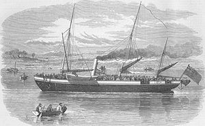 English: Opium Wars: Military train going up t...