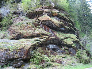 Oregon Coast Range - Exposed pillow lava in the Northern range