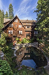 A rustic multi-story hotel sheathed in tree bark rests in a forest behind a reflecting pool.