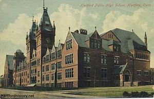 Hartford Public High School - The original school in a 1911 postcard