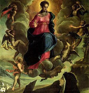 Osanna of Mantua - The Blessed Virgin Mary in glory appearing to the Blessed Osanna Andreasi by Ippolito Andreasi (ca. 1575)