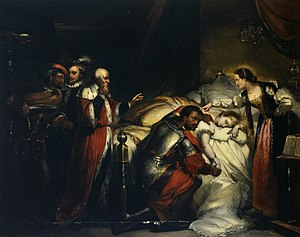 Othello - Painting by William Salter of Othello weeping over Desdemona's body. Oil on canvas, ca. 1857.