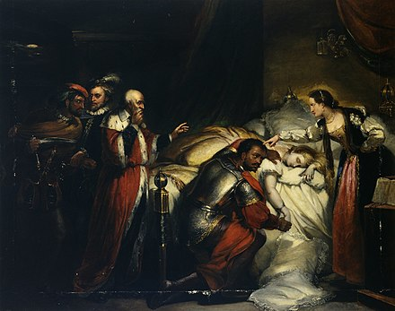 Painting by William Salter of Othello weeping over Desdemona's body. Oil on canvas, ca. 1857. Othello's Lamentation.jpg