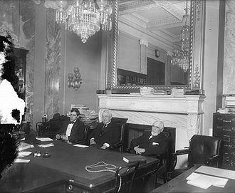 Overman Committee - Three of the five members of the Overman Committee in 1919 during hearings: Senator Josiah Oliver Wolcott (D-Del.), Chairman Lee Slater Overman (D-N.C.), Senator Knute Nelson (R-Minn.)