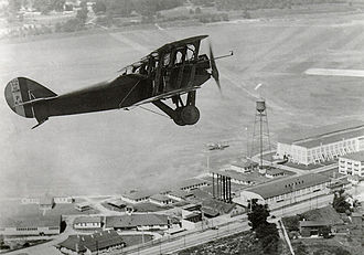 McCook Field - Major W. Schroeder set 30,900 foot two-man altitude record in a Packard-Le Peré LUSAC-11 Biplane at McCook Field, 24 September 1919