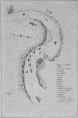 Siege of Humaitá - Image: PLANTA TOPOGRAPHICA mostrando as fortificações de Humaytá, a passagem da divisão encouraçada e a posição dos outros encouraçados que protegerão a mesma passagem
