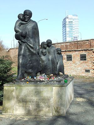 Jewish Cemetery, Warsaw - Monument (Cenotaph) of Janusz Korczak