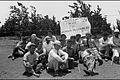 PROTESTORS FOR THE JEWISH LABORER, NEAR THE CITRUS FRUIT GROVES IN KFAR SABA. 3RD FROM R, POET SHAUL TSHERNIHOVSKY. הפגנה למען הפועל היהודי, ליד מטעי .jpg