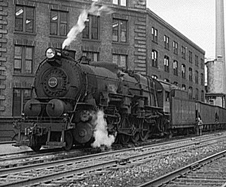 Pennsylvania Railroad class I1s - PRR I1s prepares to leave the docks at Cleveland, Ohio with a trainload of iron ore in May, 1943.