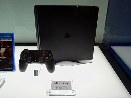 The slim PlayStation 4 model. PS4 black sample, Taipei IT Month 20171209.jpg