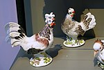Paduan cock and hen, Johann Joachim Kaendler, Meissen Porcelain Factory, c. 1742, hard-paste porcelain - Wadsworth Atheneum - Hartford, CT - DSC05438.jpg