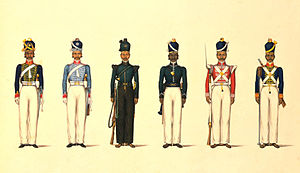 Madras Army - Left to right, the Madras Horse Artillery, the Madras Light Cavalry, the Madras Rifle Corps, the Madras Pioneers, the Madras Native Infantry, and the Madras Foot Artillery, c. 1830