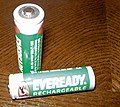 Pair of eveready rechargeable AA rechargeable NiMH batteries.JPG